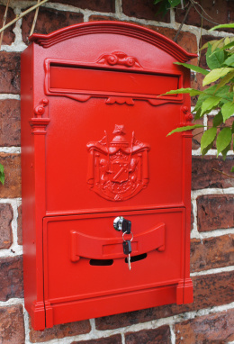 letter box wall mounted red