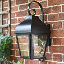 Traditional Black Wall Lantern With Scroll Bracket