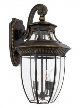 Traditional Ornate Top Fix Wall Lantern With Glass