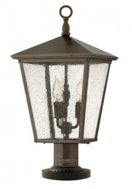 Rustic Traditional Pillar Light with Rain Drop Glass