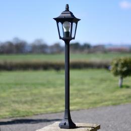 Traditional Tall Entrance Pillar Light In Black