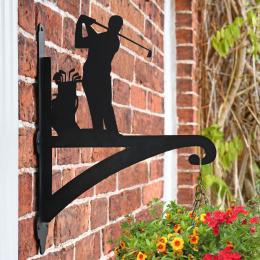 """Golfer"" Garden Hanging Basket Bracket On Brick Wall"