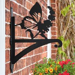 """Butterfly"" Garden Hanging Basket Bracket On Brick Wall"