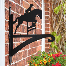 """Showjumper Horse"" Garden Hanging Basket Bracket Fitted To Brick Wall"