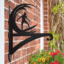 """Surfer"" Garden Hanging Basket Bracket On Brick Wall"
