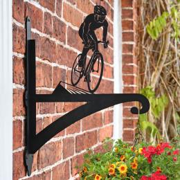 """Cyclist"" Garden Hanging Basket Bracket On Brick Wall"