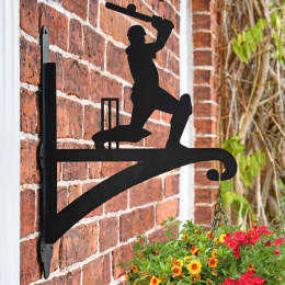 """Cricketer"" Iron Hanging Basket Bracket Fitted On Wall"