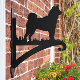 """""""Akita"""" Dog Garden Hanging Basket Bracket On Brick Wall"""