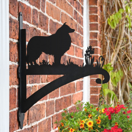 """Rough Collie"" Dog Garden Hanging Basket Bracket Fitted To Brick Wall"