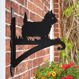 """West Highland Terrier"" Dog Garden Hanging Basket Bracket On Brick Wall"