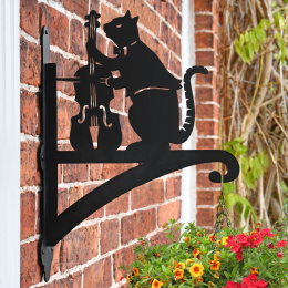 """Cat and The Fiddle"" Garden Hanging Basket Bracket Fitted to Brick Wall"