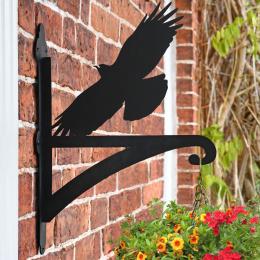 """Cornish Chough"" Garden Hanging Basket Bracket On Brick Wall"