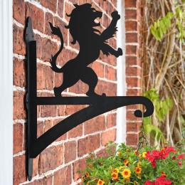 """""""Roaring Lion"""" Garden Hanging Basket Bracket On Brick Wall"""