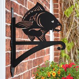 """""""Koi Fish"""" Garden Hanging Basket Bracket On Brick Wall"""