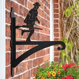 """""""Running Soldier"""" Garden Hanging Basket Bracket On Brick Wall"""