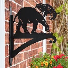"""Elephant"" Garden Hanging Basket Bracket On Brick Wall"