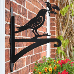 """Raven"" Garden Hanging Basket Bracket Fitted to Brick Wall"