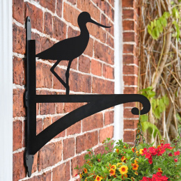 """Avocet"" Bird Iron Hanging Basket Bracket On Brick Wall"