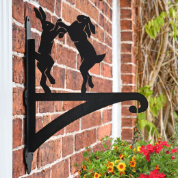"""Boxing Hares"" Garden Hanging Basket Bracket On Brick Wall"