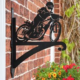 """Speedway Motorbike"" Garden Hanging Basket Bracket On Brick Wall"