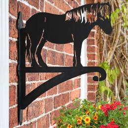 """Shetland Pony"" Garden Hanging Basket Bracket On Brick Wall"