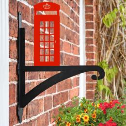 """Red Telephone Box"" Garden Hanging Basket Bracket On Brick Wall"