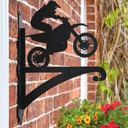 """""""Dirt Biker"""" Garden Hanging Basket Bracket On Bricket Wall"""