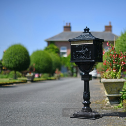 "Black ""Huntley"" Post Box On Stand"