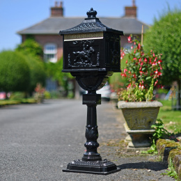 Black Huntley Post Box On Stand