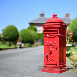 """The Lincoln"" Freestanding Pillar Box In Red"