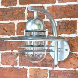 Galvanised Contemporary Wall Lantern with Matching Bracket