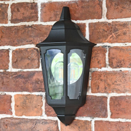 """Belthorn"" Flush Black Traditional Wall Lantern"