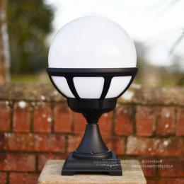 Black Contemporary Globe Pillar Light Fitting