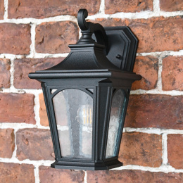 Period Black Wall Lantern With Frosted Glass