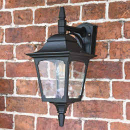 """Eccleshill"" Top Fix Traditional Black Wall Lantern"