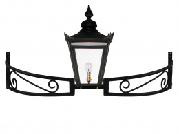 Black Hexagonal Lantern on Bow Bracket