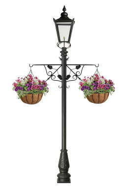 Victorian garden lamp post with ornate flower basket brackets