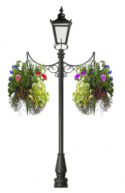 Victorian Garden Lamp Post with Ornate Iron Flower Baskets