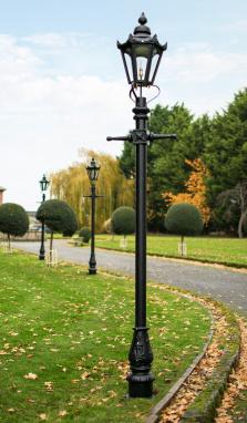 Black Victorian Hexagon Garden Lamp Post