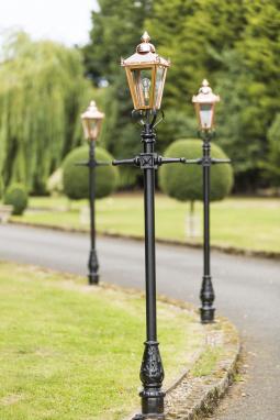 Victorian Copper Lantern and Lamp Post Set