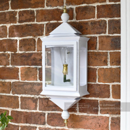White Flush Traditional Porch Wall Lantern