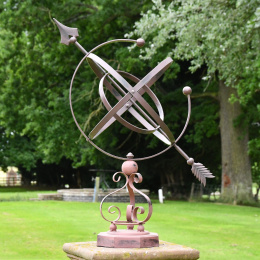 Wrought Iron Armillary Sphere with Scroll Base