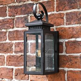 Wrought Iron Wall Lantern with Flush Fitting Wall Bracket