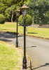 Antique Brass Dorchester Lantern on black Garden Lamp Post