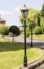 Antique Brass Gothic Garden Feature Lamp Post In Garden Setting