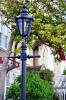 Hexagonal Lamp Post in a Home Garden