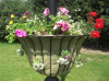 Black Lamp Post Mounted Garden Flower Basket - Small Size