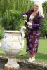 cast iron urn planter with lady.