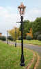 Copper Hexagonal Garden Lamp Post Lining Driveway