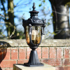 Dark bronze finish garden pillar outdoor lantern